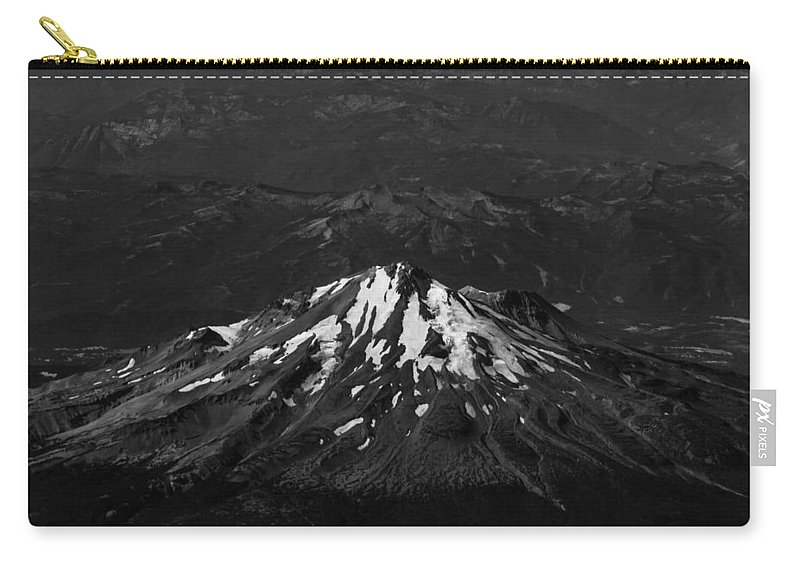 Mt Carry-all Pouch featuring the photograph Mt Shasta Black And White by John Daly