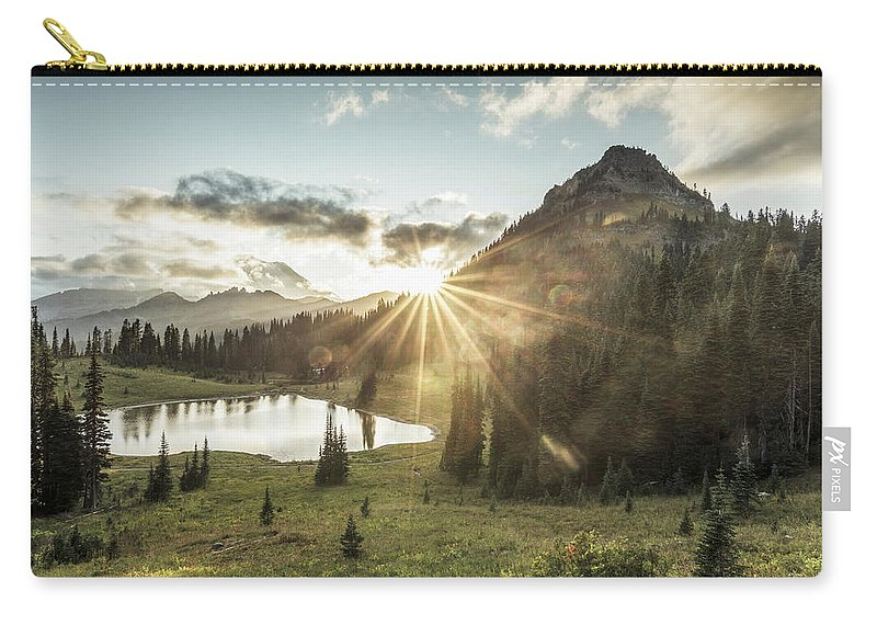 Scenics Carry-all Pouch featuring the photograph Mt.rainier In Sunset by Chinaface