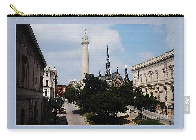 Baltimore Art Stock Shot Home Decor Mount Vernon Place Urban Landmarks Washington Monument Buildings Outdoors Walters Art Gallery Peabody Greenery Belvedere Methodist Church Spires Iconic Image Mt Vernon Park Canvas Print Wood Print Etal Frame Poster Print Available On Greeting Cards Pouches T Shirts Tote Bags Shower Curtains Wall Tapestries Mugs Weekender Tote Bags Throw Pillows And Phone Cases Carry-all Pouch featuring the photograph A Unique Perspective Of Mt. Vernon Place Baltimore by Marcus Dagan