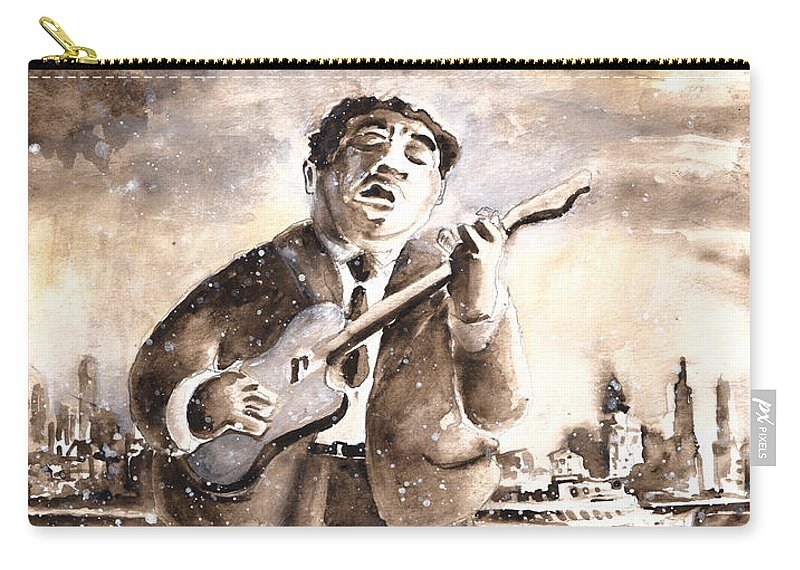 Music Carry-all Pouch featuring the painting Muddy Waters In Chicago by Miki De Goodaboom