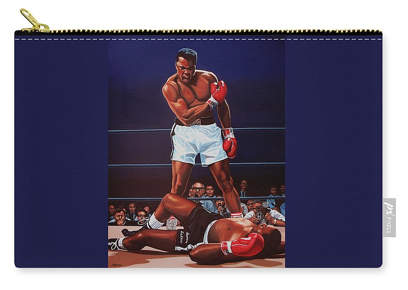 Mohammed Ali Versus Sonny Liston Carry-all Pouch featuring the painting Muhammad Ali Versus Sonny Liston by Paul Meijering