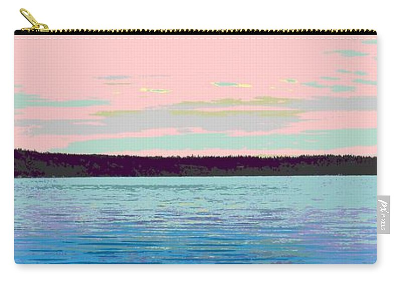 Abstract Carry-all Pouch featuring the digital art Mukilteo Clinton Ferry Panel 1 Of 3 by James Kramer