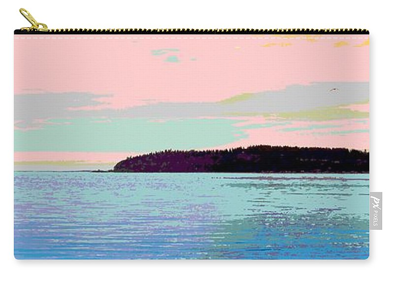 Abstract Carry-all Pouch featuring the digital art Mukilteo Clinton Ferry Panel 2 Of 3 by James Kramer