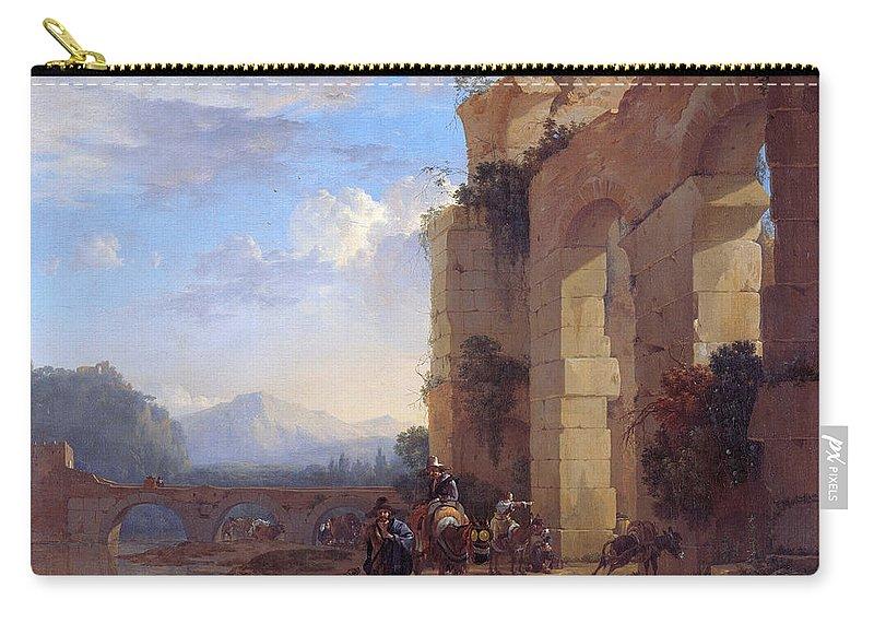 Jan Asselijn Carry-all Pouch featuring the painting Muleteers Beside An Italian Ruin by Jan Asselijn