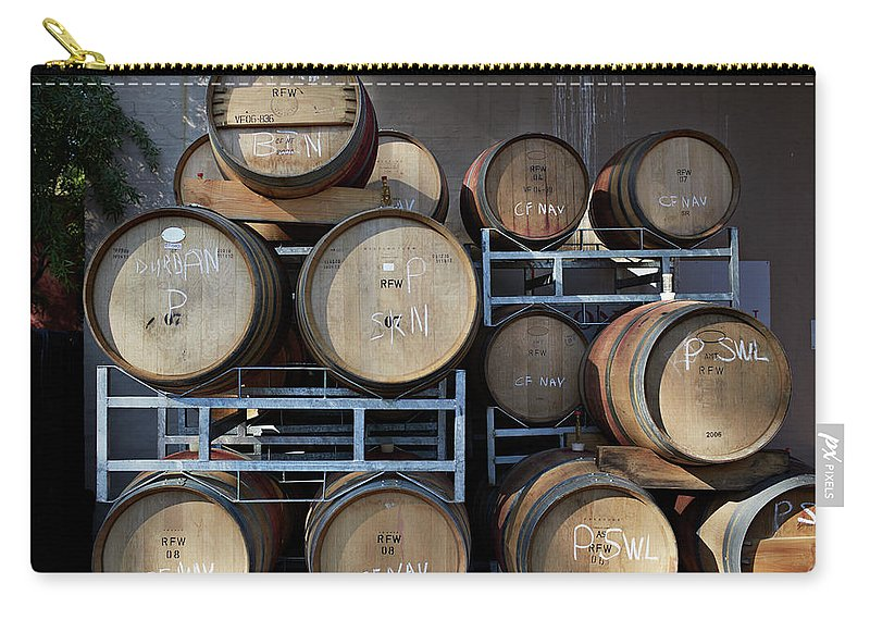 Stellenbosch Carry-all Pouch featuring the photograph Multible Wooden French Winebarrels On by Klaus Vedfelt