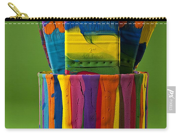 Abstract Carry-all Pouch featuring the photograph Multicolored Paint Can With Brushes by Jim Corwin