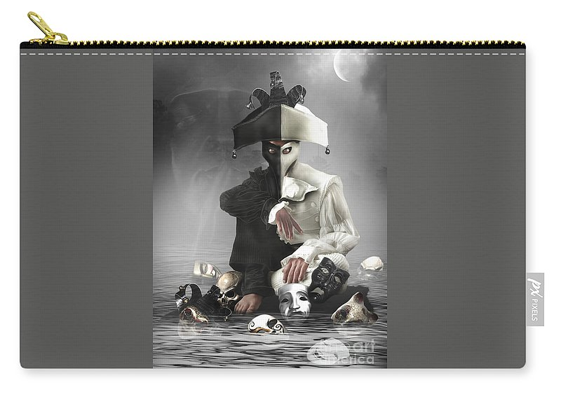 Dark Carry-all Pouch featuring the digital art Multifaceted by Babette Van den Berg