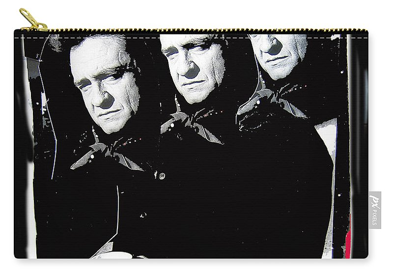 Multiple Johnny Cash Sitting Collage Surrealism Old Tucson Arizona Carry-all Pouch featuring the photograph Multiple Johnny Cash Sitting Old Tucson Arizona 1971-2008 by David Lee Guss
