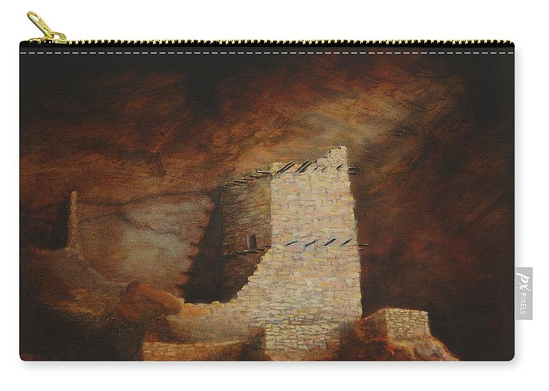 Anasazi Carry-all Pouch featuring the painting Mummy Cave by Jerry McElroy