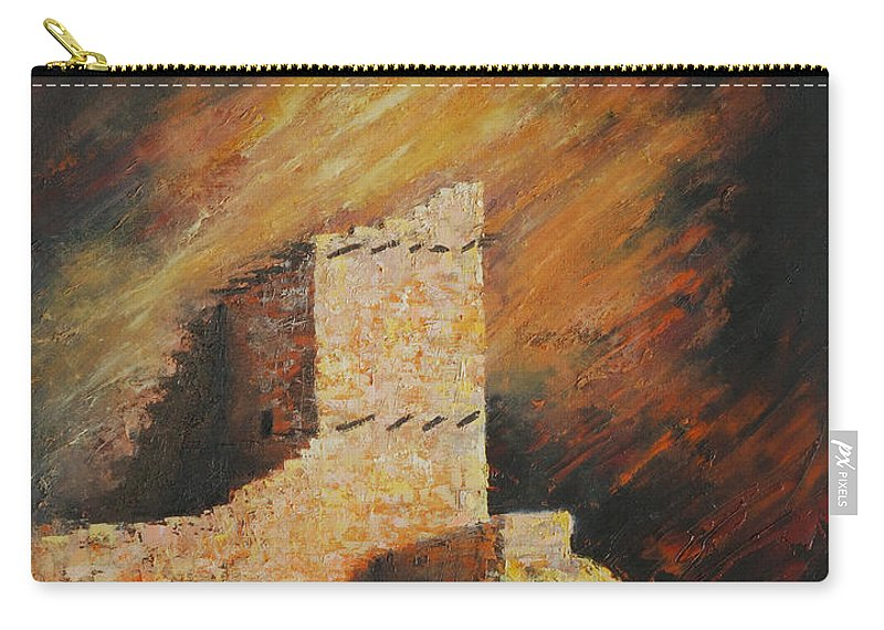 Anasazi Carry-all Pouch featuring the painting Mummy Cave Ruins 2 by Jerry McElroy
