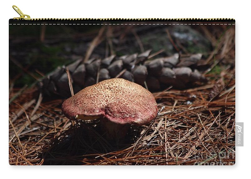 Mushroom Carry-all Pouch featuring the photograph Mushroom And Pine Cone by Kenny Glotfelty