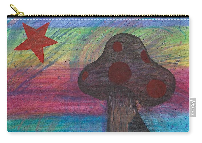 Abstract Carry-all Pouch featuring the painting Mushroom And Star by Jill Christensen