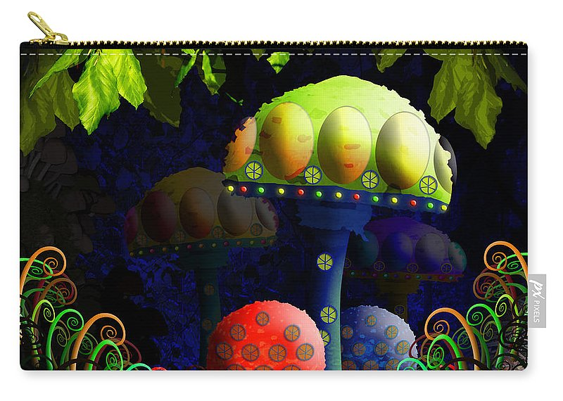 Mushroom Carry-all Pouch featuring the painting Mushroom Town by Neil Finnemore