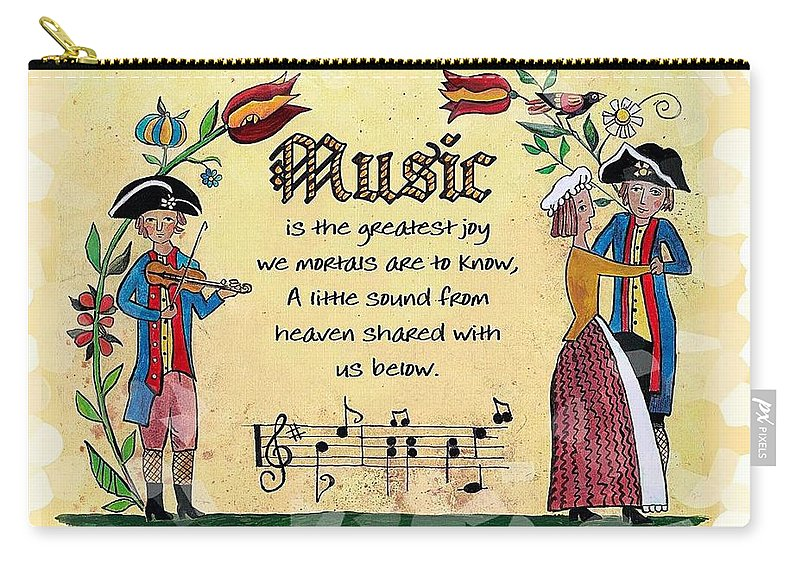 Fraktur Carry-all Pouch featuring the painting Music Fraktur by Joan Shaver