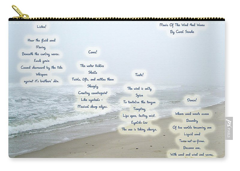 Music Of The Wind And Waves Poem On Ocean Background Carry-all Pouch