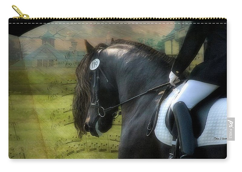 Friesian Horses Carry-all Pouch featuring the digital art Musical Freestyle by Fran J Scott