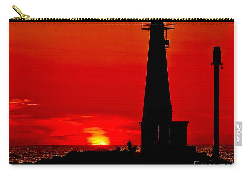 Lighthouse Carry-all Pouch featuring the photograph Muskegon Light Sunset by Nick Zelinsky