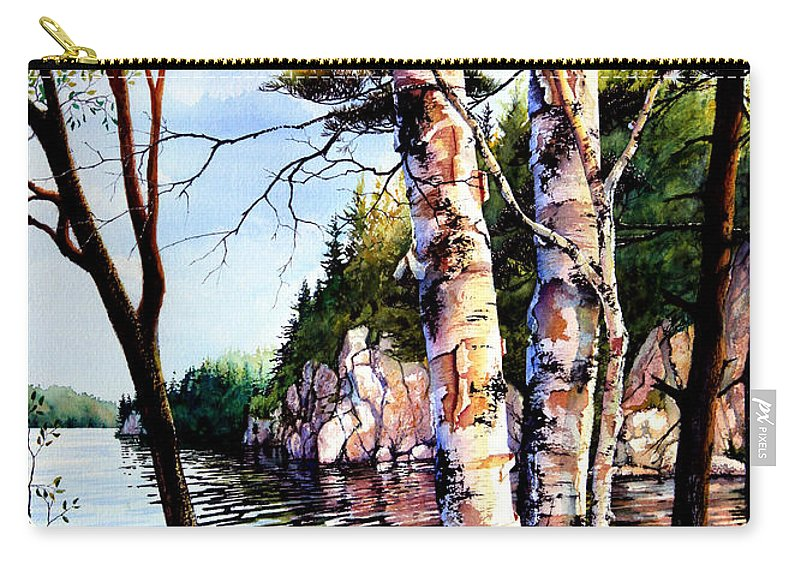 Muskoka Painting Carry-all Pouch featuring the painting Muskoka Reflections by Hanne Lore Koehler