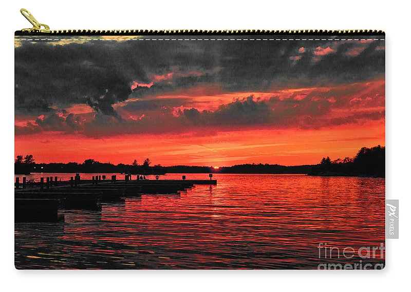 Muskoka Carry-all Pouch featuring the photograph Muskoka Sunset by Les Palenik