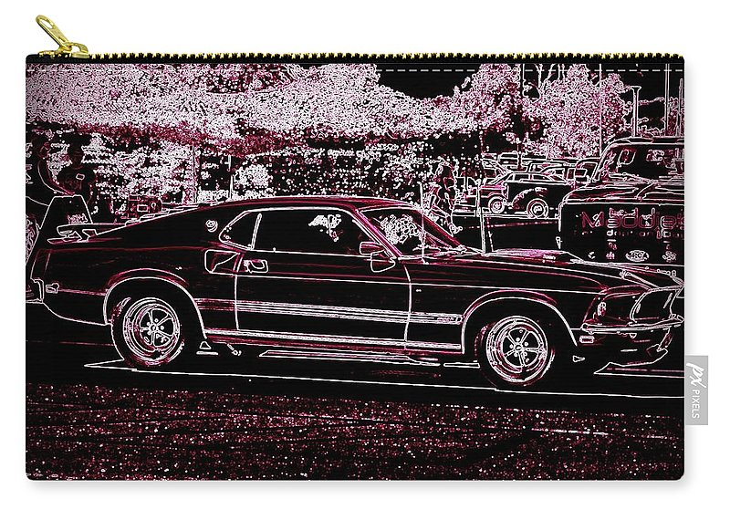 Classic Car Prints Carry-all Pouch featuring the digital art Mustang Rose by Bobbee Rickard