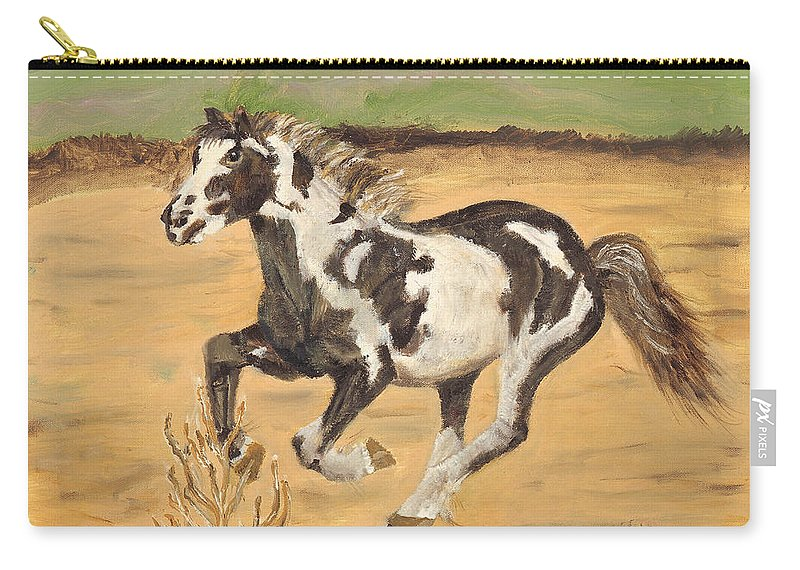 Horse Carry-all Pouch featuring the painting Mustang by Terry Lewey
