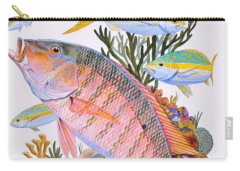 Mutton Carry-all Pouch featuring the painting Mutton Snapper Reef by Carey Chen