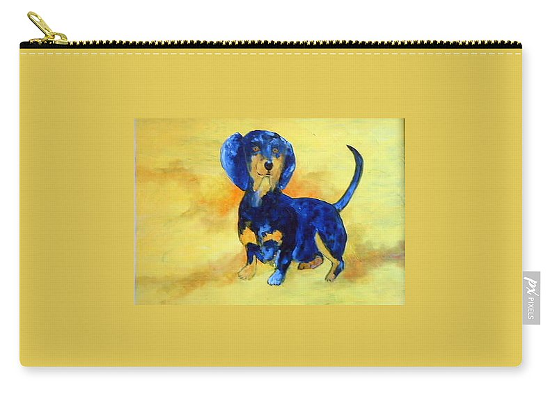 Blue Carry-all Pouch featuring the painting My Dog by Lord Frederick Lyle Morris - Disabled Veteran