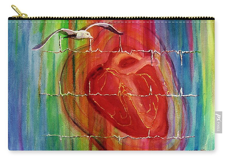 Watercolor Carry-all Pouch featuring the painting My Hearts Echo by Estela Robles