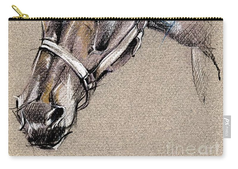 Horse Study Carry-all Pouch featuring the drawing My Horse Portrait Drawing by Daliana Pacuraru