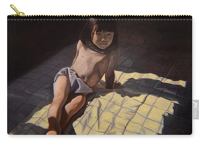 Figure Carry-all Pouch featuring the painting My Little Cheese Cake - Wah Zhee Tah by Thu Nguyen