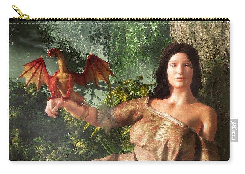 Miniature Dragon Carry-all Pouch featuring the digital art My Little Dragon - Detail by Daniel Eskridge