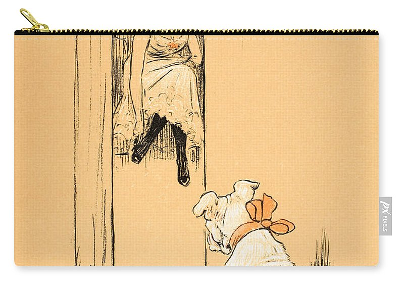 Dog Carry-all Pouch featuring the painting My Mistress Dressing by Cecil Charles Windsor Aldin