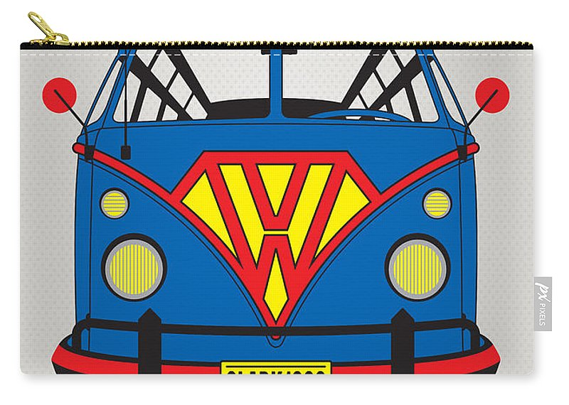 Superheroes Carry-all Pouch featuring the digital art My Superhero-vw-t1-superman by Chungkong Art
