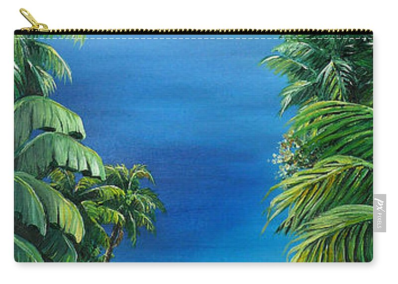 Tropical Painting Caribbean Painting Sea Scape Painting Seaview Painting Flamboyant Painting  Island Painting  Carry-all Pouch featuring the painting My View by Karin Dawn Kelshall- Best