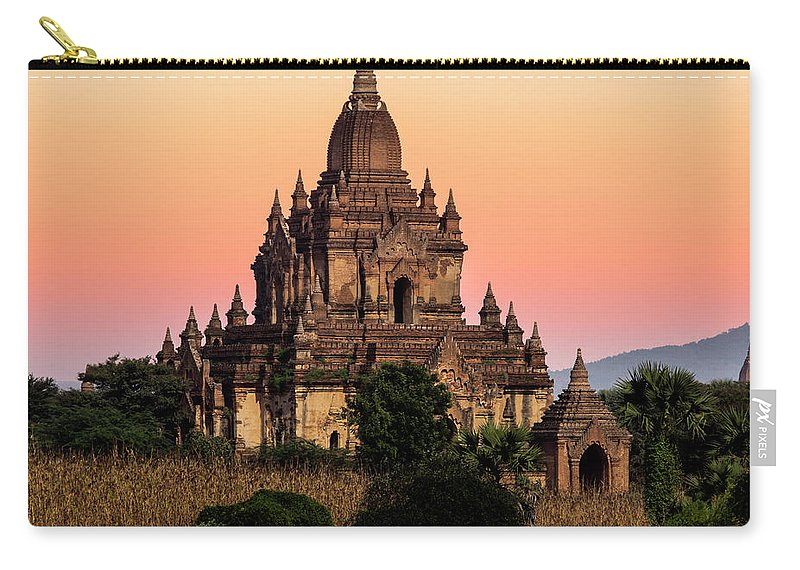 Non-urban Scene Carry-all Pouch featuring the photograph Myanmar, Bagan, Ancient Temple At by Martin Puddy