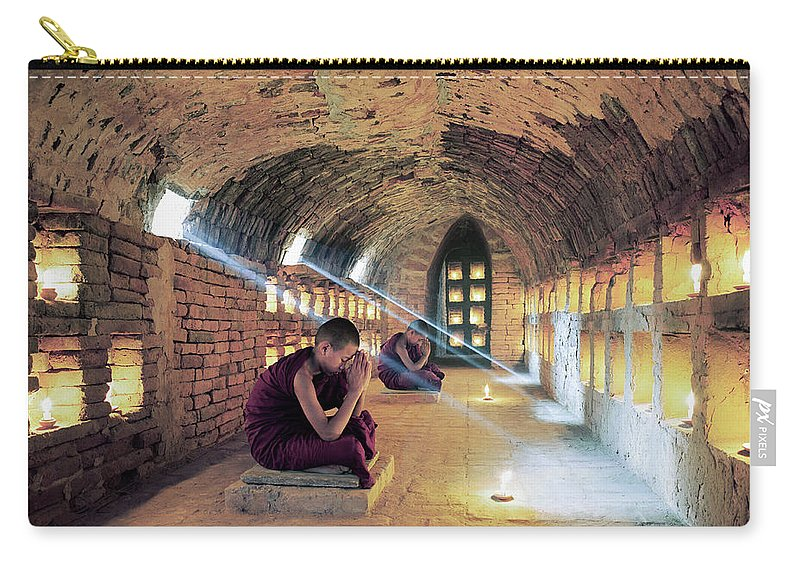Arch Carry-all Pouch featuring the photograph Myanmar, Buddhist Monks Inside by Martin Puddy
