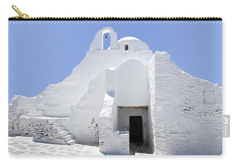 Mykonos Carry-all Pouch featuring the photograph Mykonian Church by Hakon Soreide