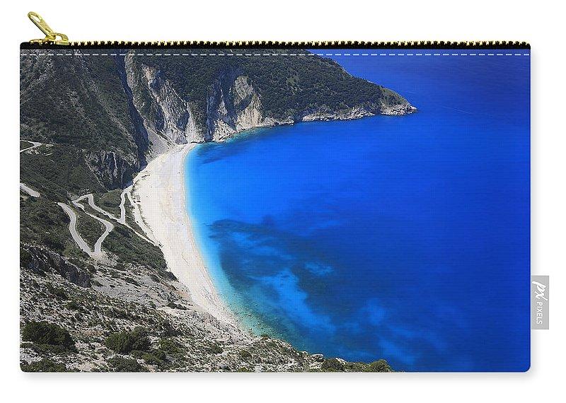 Beach Carry-all Pouch featuring the photograph Myrtos Beach Kefalonia Greece by Ivan Pendjakov