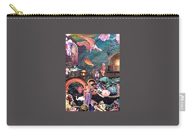 Surrealism Carry-all Pouch featuring the mixed media Mysteries by Gail Kirtz