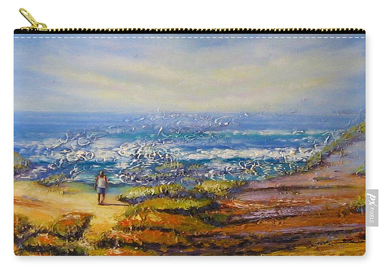 Rocks Carry-all Pouch featuring the painting Mysterious Ocean Beach Rocks by Diane Quee