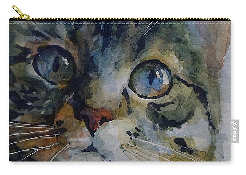 Tabby Carry-all Pouch featuring the painting Mystery Tabby by Paul Lovering