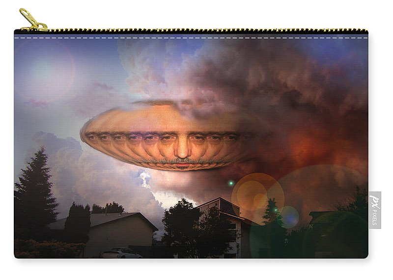 Surrealism Carry-all Pouch featuring the digital art Mystic Ufo by Otto Rapp