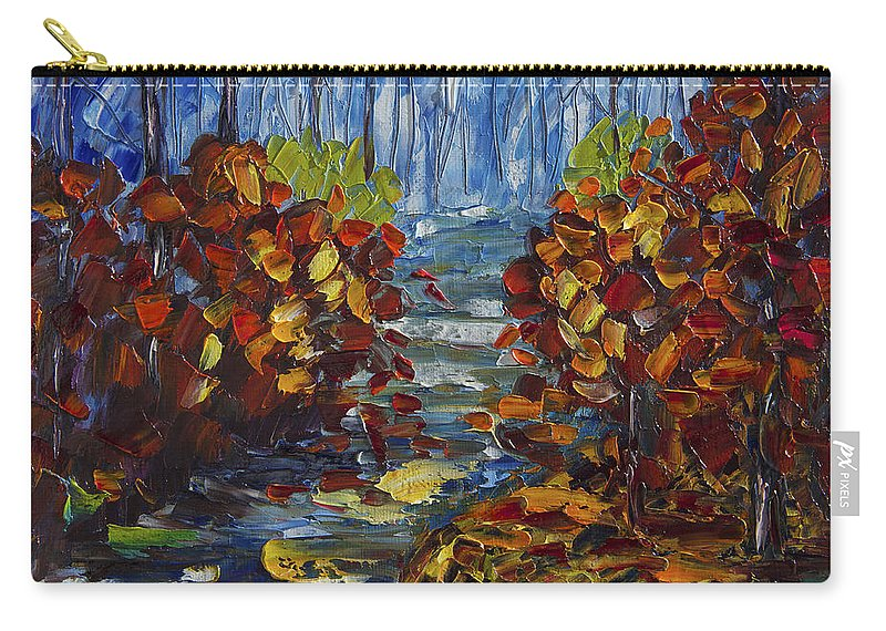 Art Carry-all Pouch featuring the painting Mysty Morning Path by OLena Art Lena Owens