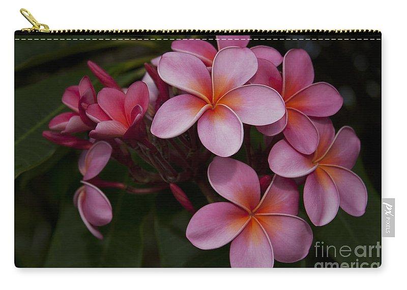 Aloha Carry-all Pouch featuring the photograph Na Lei Pua Melia O Wailua - Pink Tropical Plumeria Hawaii by Sharon Mau