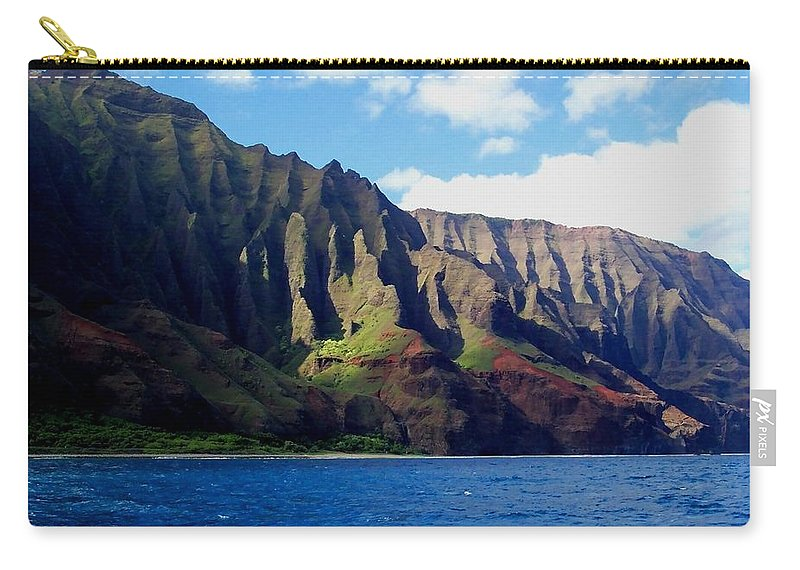 Kauai Carry-all Pouch featuring the photograph Na Pali Coast On Kauai by Amy McDaniel