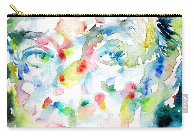 Vladimir Carry-all Pouch featuring the painting Nabokov Vladimir - Watercolor Portrait by Fabrizio Cassetta