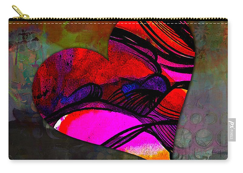 Heart Mixed Media Carry-all Pouch featuring the mixed media Namaste by Marvin Blaine