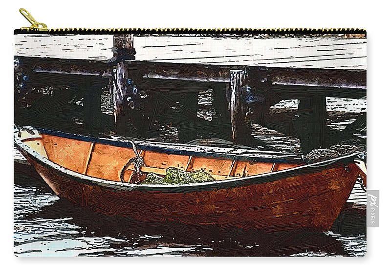 Boats Carry-all Pouch featuring the painting Nantucket Sleigh Ride Whaleboat by RC deWinter