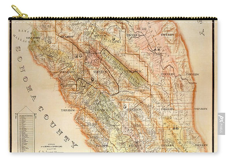 Napa Valley Map Carry-all Pouch featuring the photograph Napa Valley Map 1895 by Jon Neidert