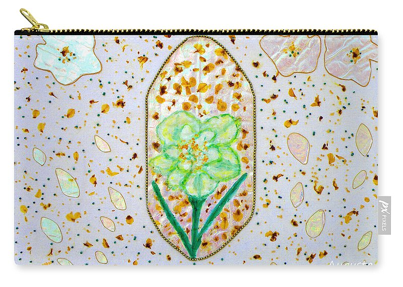 Augusta Stylianou Carry-all Pouch featuring the painting Narcissus Flower Petals by Augusta Stylianou